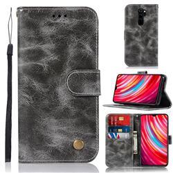 Luxury Retro Leather Wallet Case for Mi Xiaomi Redmi Note 8 Pro - Gray