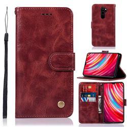 Luxury Retro Leather Wallet Case for Mi Xiaomi Redmi Note 8 Pro - Wine Red