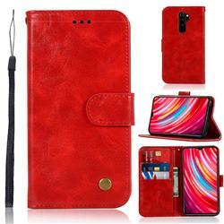 Luxury Retro Leather Wallet Case for Mi Xiaomi Redmi Note 8 Pro - Red