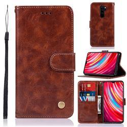 Luxury Retro Leather Wallet Case for Mi Xiaomi Redmi Note 8 Pro - Brown