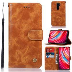 Luxury Retro Leather Wallet Case for Mi Xiaomi Redmi Note 8 Pro - Golden