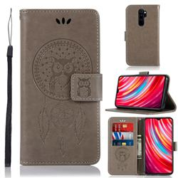 Intricate Embossing Owl Campanula Leather Wallet Case for Mi Xiaomi Redmi Note 8 Pro - Grey