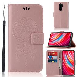 Intricate Embossing Owl Campanula Leather Wallet Case for Mi Xiaomi Redmi Note 8 Pro - Rose Gold