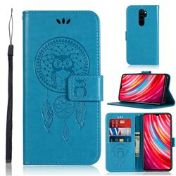 Intricate Embossing Owl Campanula Leather Wallet Case for Mi Xiaomi Redmi Note 8 Pro - Blue