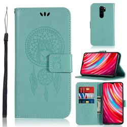 Intricate Embossing Owl Campanula Leather Wallet Case for Mi Xiaomi Redmi Note 8 Pro - Green
