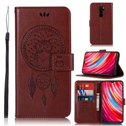 Intricate Embossing Owl Campanula Leather Wallet Case for Mi Xiaomi Redmi Note 8 Pro - Brown