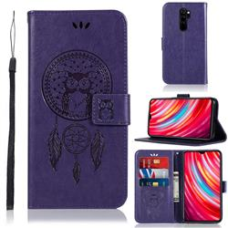 Intricate Embossing Owl Campanula Leather Wallet Case for Mi Xiaomi Redmi Note 8 Pro - Purple