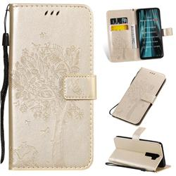 Embossing Butterfly Tree Leather Wallet Case for Mi Xiaomi Redmi Note 8 Pro - Champagne