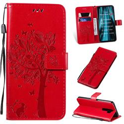 Embossing Butterfly Tree Leather Wallet Case for Mi Xiaomi Redmi Note 8 Pro - Red