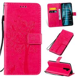 Embossing Butterfly Tree Leather Wallet Case for Mi Xiaomi Redmi Note 8 Pro - Rose
