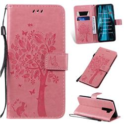 Embossing Butterfly Tree Leather Wallet Case for Mi Xiaomi Redmi Note 8 Pro - Pink