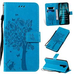 Embossing Butterfly Tree Leather Wallet Case for Mi Xiaomi Redmi Note 8 Pro - Blue