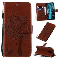 Embossing Butterfly Tree Leather Wallet Case for Mi Xiaomi Redmi Note 8 Pro - Coffee