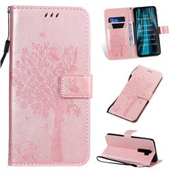 Embossing Butterfly Tree Leather Wallet Case for Mi Xiaomi Redmi Note 8 Pro - Rose Pink