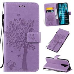 Embossing Butterfly Tree Leather Wallet Case for Mi Xiaomi Redmi Note 8 Pro - Violet