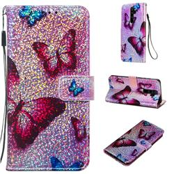 Blue Butterfly Sequins Painted Leather Wallet Case for Mi Xiaomi Redmi Note 8 Pro