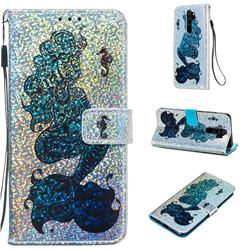Mermaid Seahorse Sequins Painted Leather Wallet Case for Mi Xiaomi Redmi Note 8 Pro