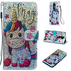Star Unicorn Sequins Painted Leather Wallet Case for Mi Xiaomi Redmi Note 8 Pro