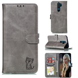 Embossing Happy Cat Leather Wallet Case for Mi Xiaomi Redmi Note 8 Pro - Gray