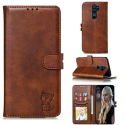Embossing Happy Cat Leather Wallet Case for Mi Xiaomi Redmi Note 8 Pro - Brown