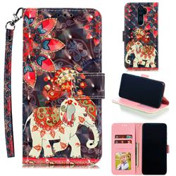 Phoenix Elephant 3D Painted Leather Phone Wallet Case for Mi Xiaomi Redmi Note 8 Pro