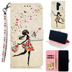 Flower Girl 3D Painted Leather Phone Wallet Case for Mi Xiaomi Redmi Note 8 Pro