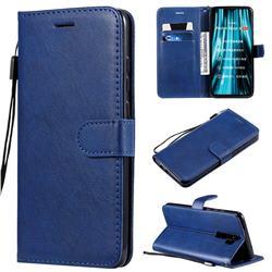 Retro Greek Classic Smooth PU Leather Wallet Phone Case for Mi Xiaomi Redmi Note 8 Pro - Blue