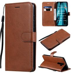 Retro Greek Classic Smooth PU Leather Wallet Phone Case for Mi Xiaomi Redmi Note 8 Pro - Brown