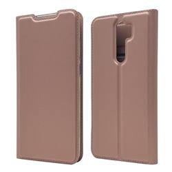 Ultra Slim Card Magnetic Automatic Suction Leather Wallet Case for Mi Xiaomi Redmi Note 8 Pro - Rose Gold