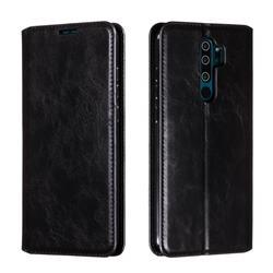 Retro Slim Magnetic Crazy Horse PU Leather Wallet Case for Mi Xiaomi Redmi Note 8 Pro - Black