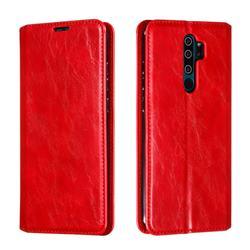 Retro Slim Magnetic Crazy Horse PU Leather Wallet Case for Mi Xiaomi Redmi Note 8 Pro - Red