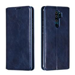 Retro Slim Magnetic Crazy Horse PU Leather Wallet Case for Mi Xiaomi Redmi Note 8 Pro - Blue