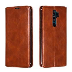 Retro Slim Magnetic Crazy Horse PU Leather Wallet Case for Mi Xiaomi Redmi Note 8 Pro - Brown