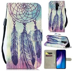 Feather Wind Chimes 3D Painted Leather Wallet Phone Case for Mi Xiaomi Redmi Note 8 Pro