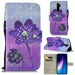 Purple Flower 3D Painted Leather Wallet Phone Case for Mi Xiaomi Redmi Note 8 Pro