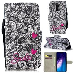 Lace Flower 3D Painted Leather Wallet Phone Case for Mi Xiaomi Redmi Note 8 Pro