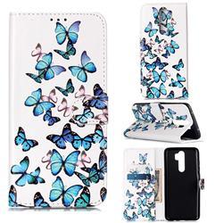 Blue Vivid Butterflies PU Leather Wallet Case for Mi Xiaomi Redmi Note 8 Pro