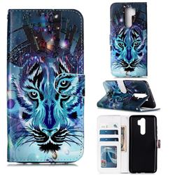 Ice Wolf 3D Relief Oil PU Leather Wallet Case for Mi Xiaomi Redmi Note 8 Pro