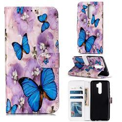 Purple Flowers Butterfly 3D Relief Oil PU Leather Wallet Case for Mi Xiaomi Redmi Note 8 Pro