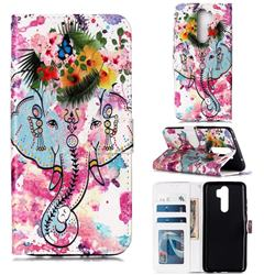 Flower Elephant 3D Relief Oil PU Leather Wallet Case for Mi Xiaomi Redmi Note 8 Pro