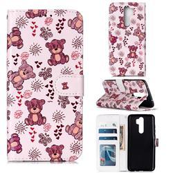 Cute Bear 3D Relief Oil PU Leather Wallet Case for Mi Xiaomi Redmi Note 8 Pro
