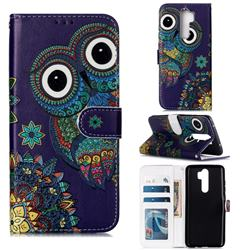 Folk Owl 3D Relief Oil PU Leather Wallet Case for Mi Xiaomi Redmi Note 8 Pro