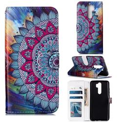 Mandala Flower 3D Relief Oil PU Leather Wallet Case for Mi Xiaomi Redmi Note 8 Pro