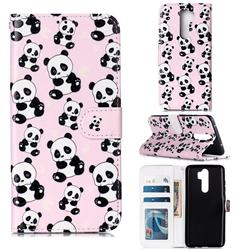 Cute Panda 3D Relief Oil PU Leather Wallet Case for Mi Xiaomi Redmi Note 8 Pro