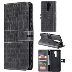 Luxury Crocodile Magnetic Leather Wallet Phone Case for Mi Xiaomi Redmi Note 8 Pro - Gray