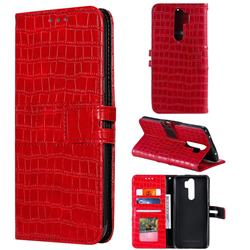 Luxury Crocodile Magnetic Leather Wallet Phone Case for Mi Xiaomi Redmi Note 8 Pro - Red