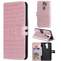 Luxury Crocodile Magnetic Leather Wallet Phone Case for Mi Xiaomi Redmi Note 8 Pro - Rose Gold