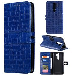 Luxury Crocodile Magnetic Leather Wallet Phone Case for Mi Xiaomi Redmi Note 8 Pro - Blue