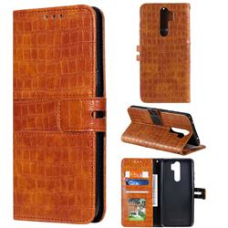Luxury Crocodile Magnetic Leather Wallet Phone Case for Mi Xiaomi Redmi Note 8 Pro - Brown