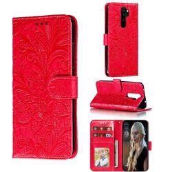 Intricate Embossing Lace Jasmine Flower Leather Wallet Case for Mi Xiaomi Redmi Note 8 Pro - Red